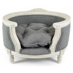 Upholstered dog basket, Napoléon, grey