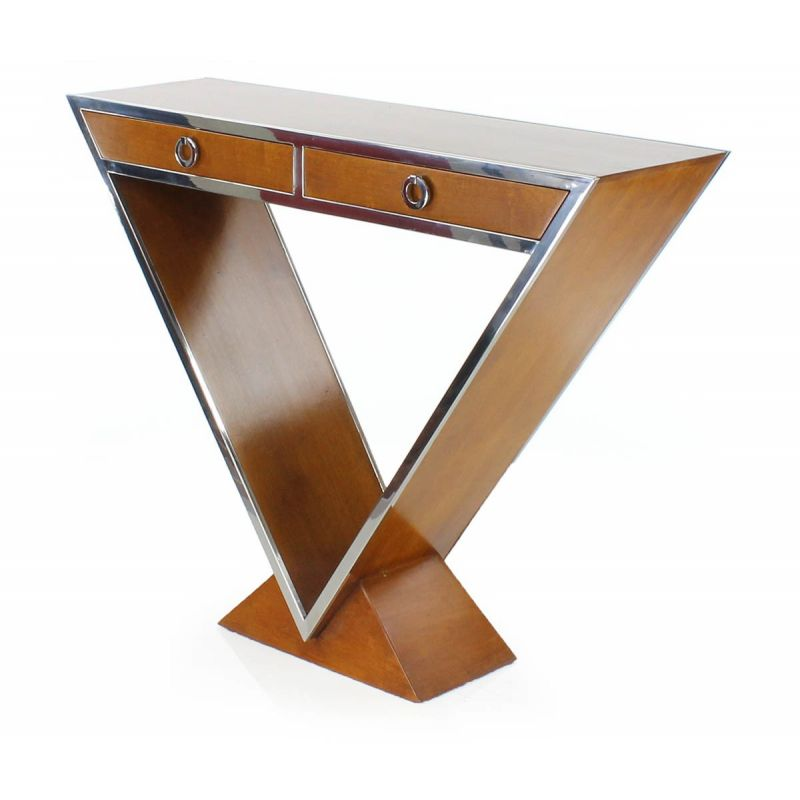 Designer console in light wood, double drawers - Delta