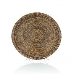 Wicker and glass tart plate
