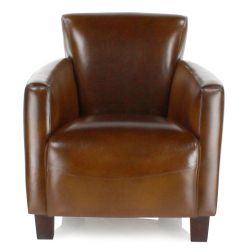 Vintage brown leather club chair - Alma