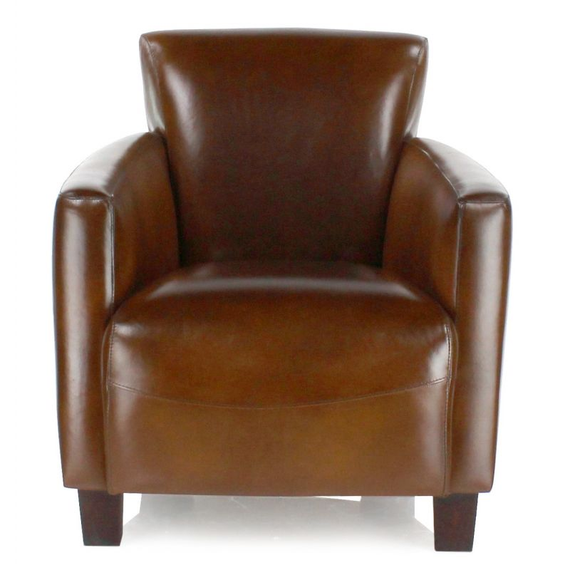 fauteuil club cuir marron vintage alma saulaie. Black Bedroom Furniture Sets. Home Design Ideas