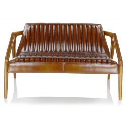 Canapé scandinave cuir marron vintage - Lupin