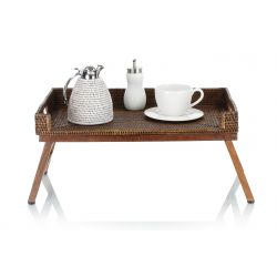 Lap tray in wood and wicker