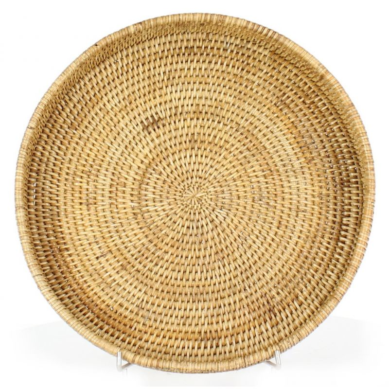Round table trays in natural wicker (2 sizes)