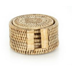 Box of round glass coasters in natural wicker (set of 6)
