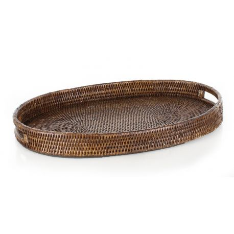 Oval wicker tray with handles (2 sizes)