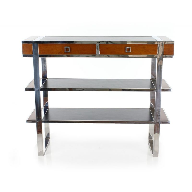 Console in wood, stainless steel and black leather - Iéna