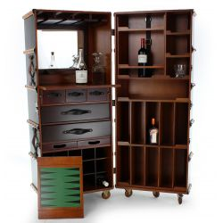 Mobile bar cabinet, black cabin trunk - Nelson