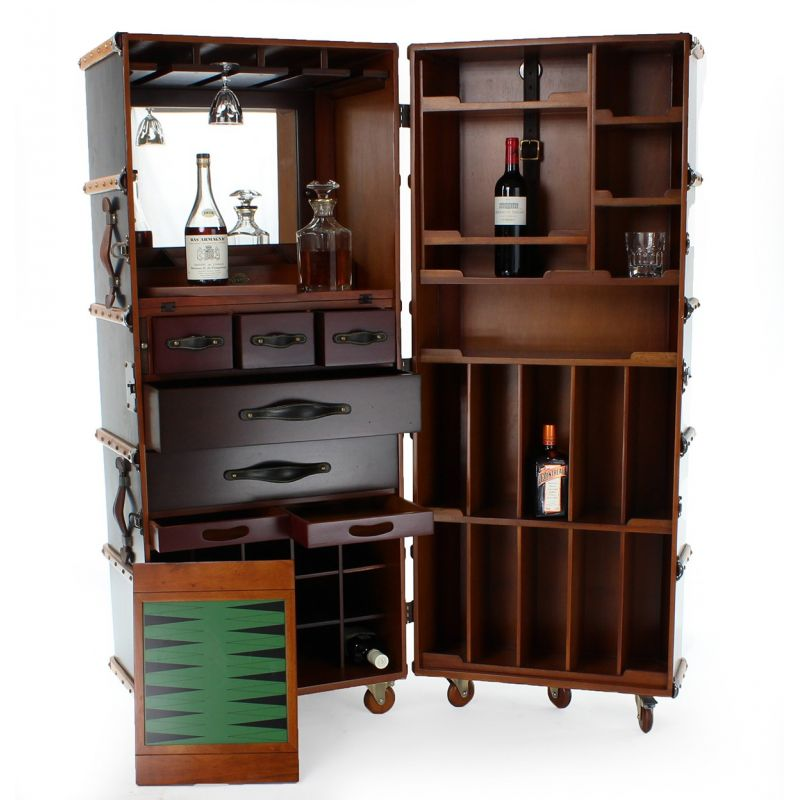 Mobile Bar Cabinet, Black Cabin Trunk   Nelson