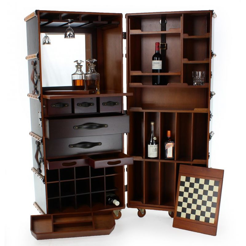 vaisselier bar mobile malle de cabine noire nelson saulaie. Black Bedroom Furniture Sets. Home Design Ideas