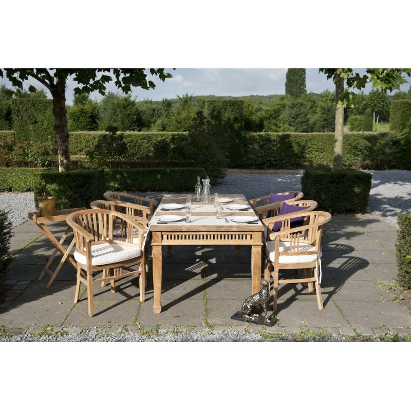 Table De Jardin Rectangulaire En Bois Teck Chantilly Saulaie