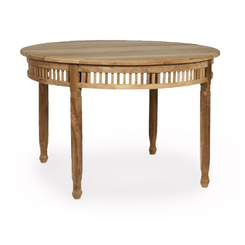 Table de jardin ronde en bois teck chantilly saulaie for Table ronde en bois