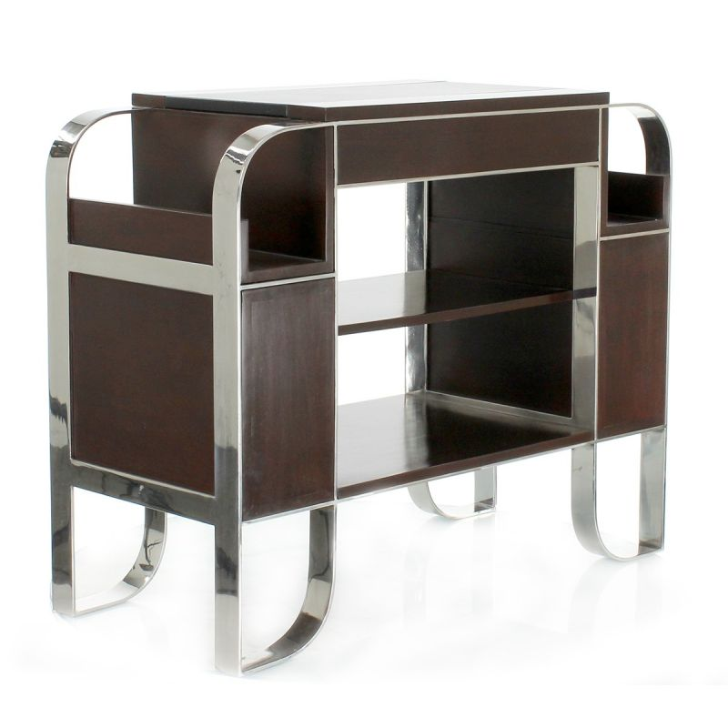 Side table in wood, leather and stainless steel - La Boétie