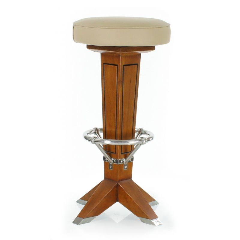 Wood and beige leather barstool - La Perouse