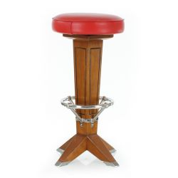 Wooden and red leather bar stool - La Perouse