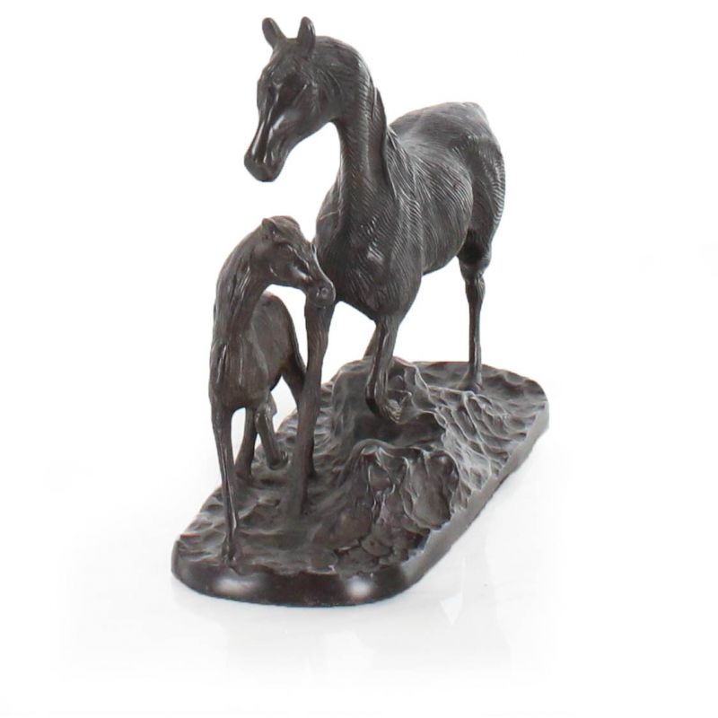 Mare and foal in bronze
