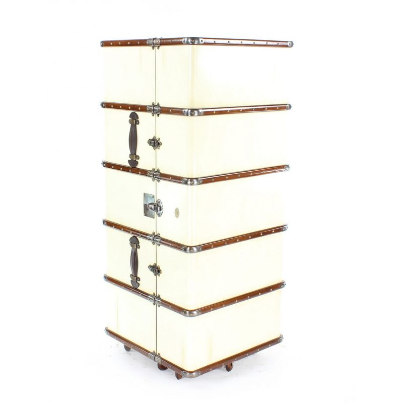Mobile bar drinks cabinet, ivory-coloured cabin trunk - Nelson