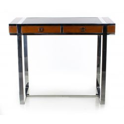 Wood, leather and stainless steel desk, small model - La Boétie