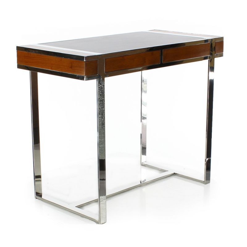 Wood leather and stainless steel desk small model la Small steel desk