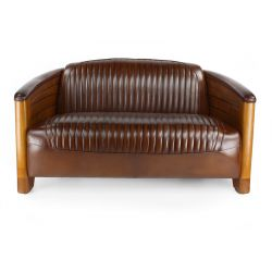Chestnut-coloured Vintage leather club sofa - Pirogue