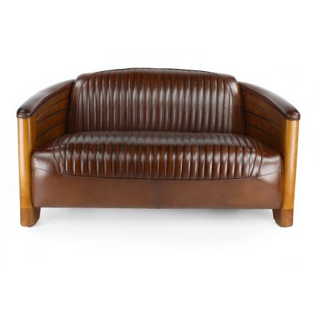 canap club cuir marron vintage pirogue saulaie. Black Bedroom Furniture Sets. Home Design Ideas