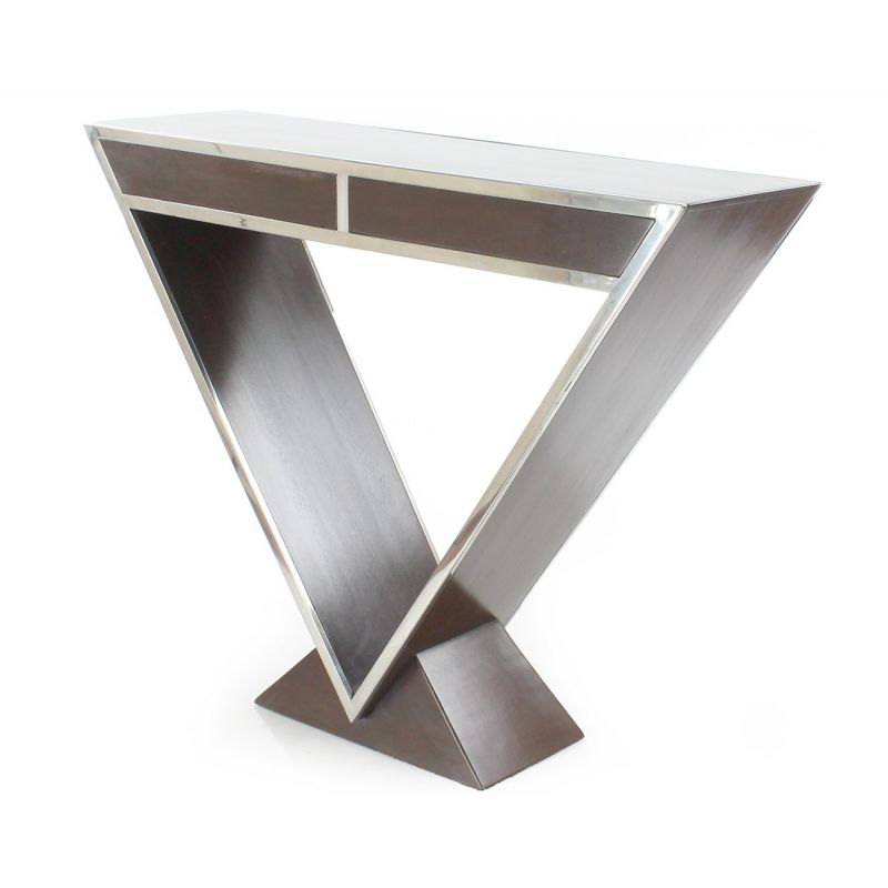 Dark wood double-drawer console table - Delta