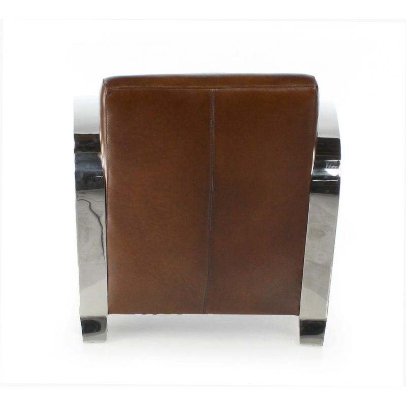Brown leather club armchair - Beaubourg