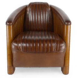 Vintage club Easychair in brown leather - la Pérouse