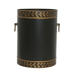 Black and gold cylindrical wastepaper basket, Talos