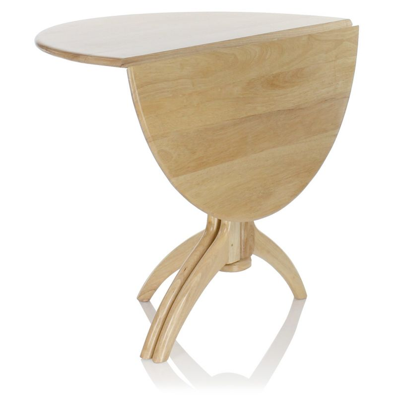 Table de salle manger pliante ronde en bois naturel lund for Table cuisine ronde pliante