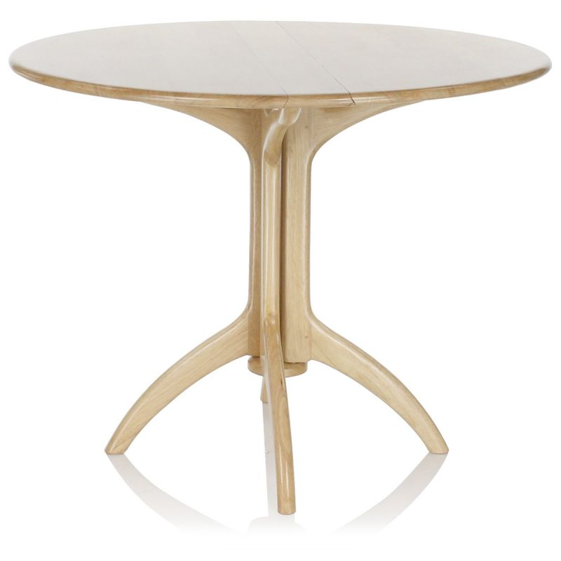 Table de salle manger pliante ronde en bois naturel lund saulaie - Table manger pliante ...