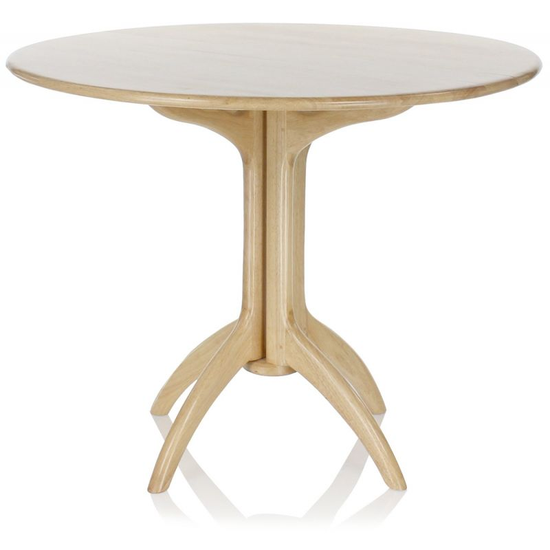 Table de salle manger pliante ronde en bois naturel lund for Table a manger ronde bois