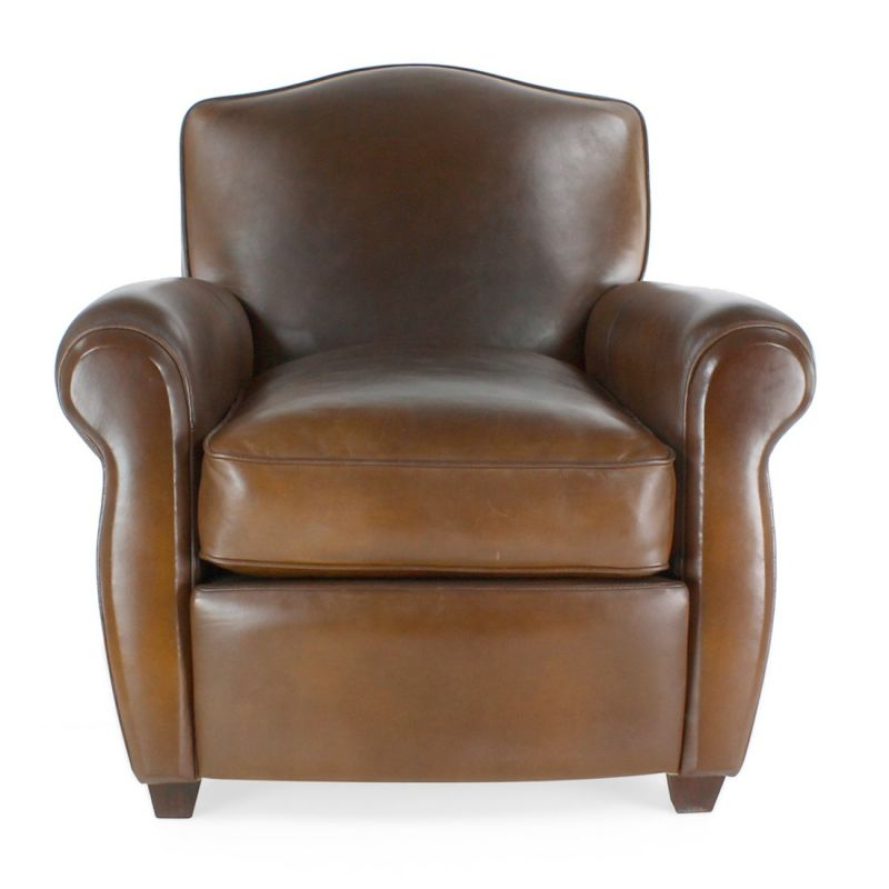 fauteuil club cuir marron vintage moustache saulaie. Black Bedroom Furniture Sets. Home Design Ideas