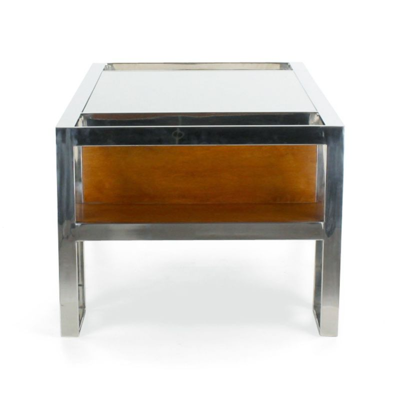 Stainless Steel And Wood Coffee Table