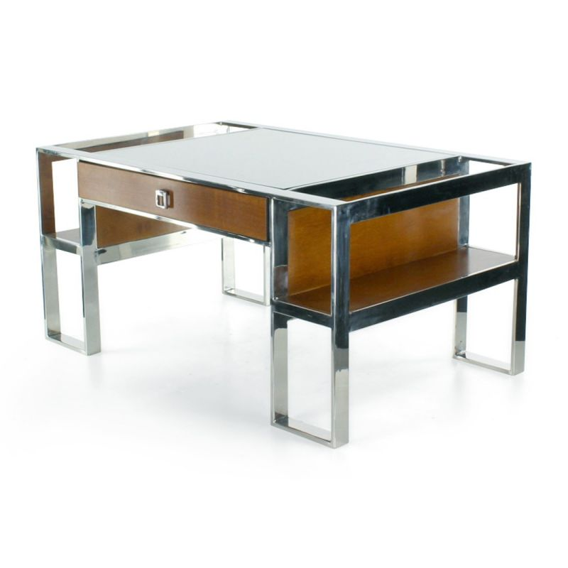 Table basse inox cuir et bois clair pm la bo tie saulaie for Cuir center table basse