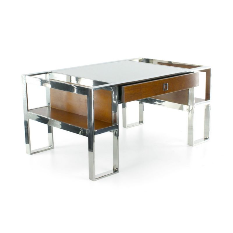 Stainless Steel Leather And Wood Coffee Table La Bo Tie Saulaie
