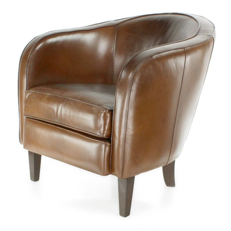 fauteuil club cuir marron vintage albin saulaie. Black Bedroom Furniture Sets. Home Design Ideas