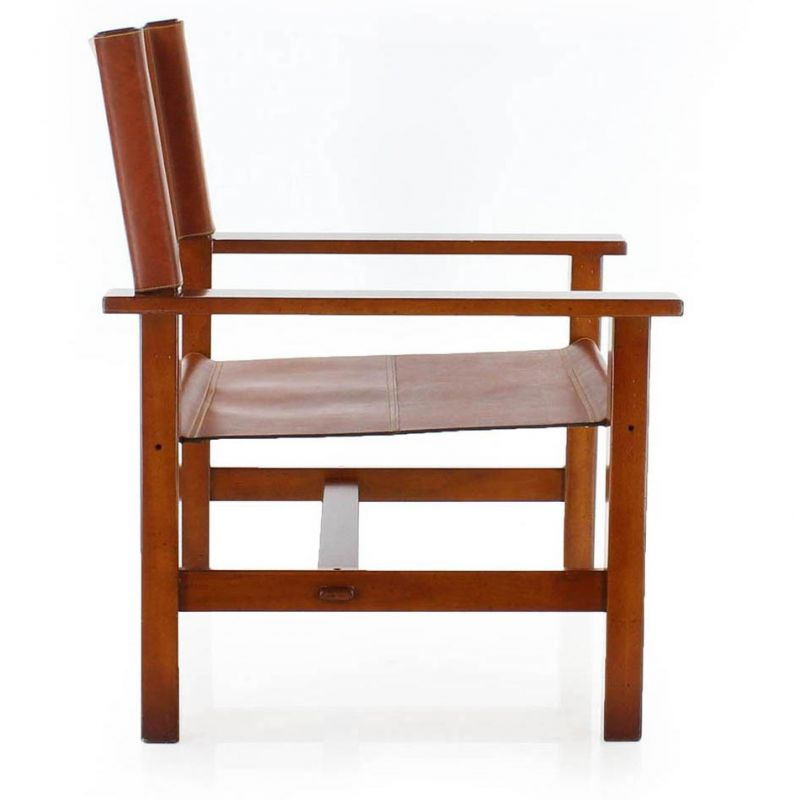 Leather and wooden vintage armchair - 1900