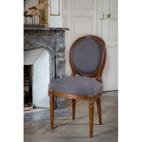 Awesome chaise louis xvi bois et tissu marron mdaillon with maison du monde c - Maison du monde chaise louis ...