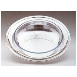 Round Pyrex dish with a silver-plate outerbowl