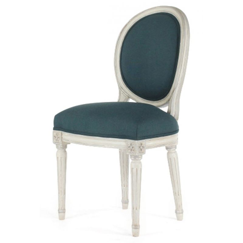 chaise louis xvi patin e tissu bleu m daillon saulaie. Black Bedroom Furniture Sets. Home Design Ideas