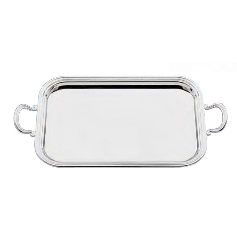 Silver-plated tray with handles - Filet