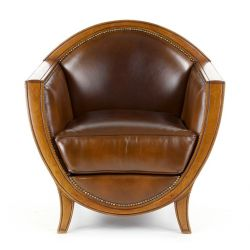 Vintage brown leather club sofa - Edmond