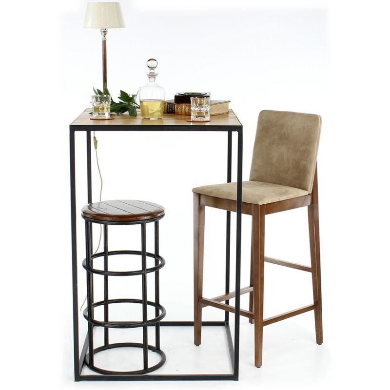 tabouret de bar bois et m tal eliott saulaie. Black Bedroom Furniture Sets. Home Design Ideas