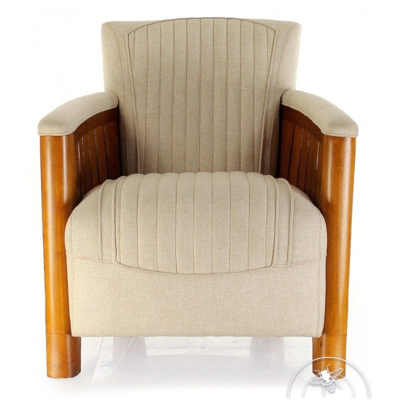 fauteuil club tissu beige cognac saulaie. Black Bedroom Furniture Sets. Home Design Ideas