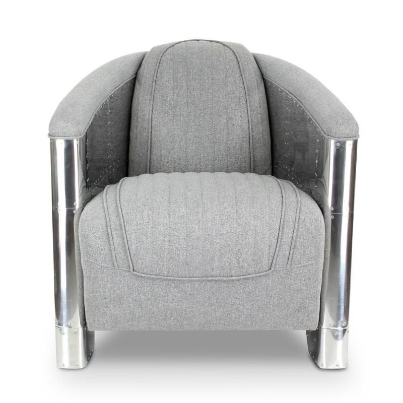 fauteuil club tissu gris clair aviateur saintex saulaie. Black Bedroom Furniture Sets. Home Design Ideas