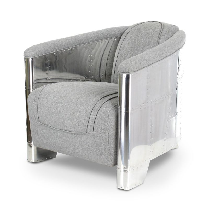 fauteuil club tissu gris clair aviator saulaie. Black Bedroom Furniture Sets. Home Design Ideas