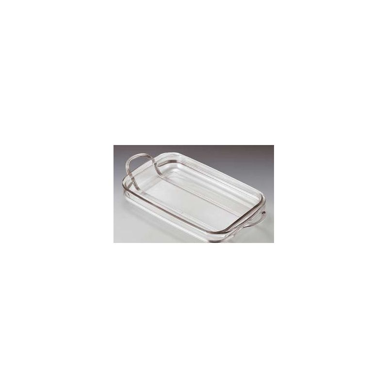 Rectangular Pyrex dish with silver-plated metal tray