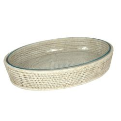 Oval Pyrex and white wicker dish