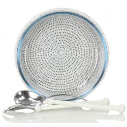 Pyrex dish with white wicker outer container - round